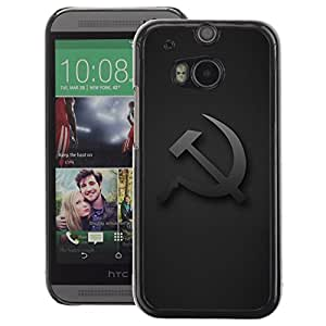 A-type Arte & diseño plástico duro Fundas Cover Cubre Hard Case Cover para HTC One M8 (Cap Russia Union Grey Communism)