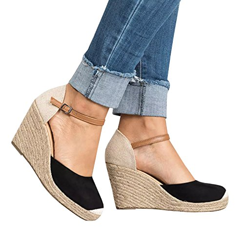 Buy now Huiyuzhi Womens Wedge Sandals Ankle Strap Cap Toe Espadrille Wedge Sandal,Black,6.5