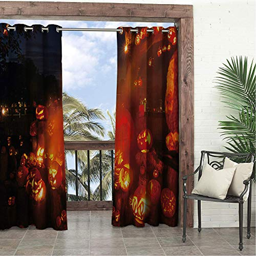 Linhomedecor Garden Waterproof Curtains Halloween Scary Pumpk Multicolor doorways Grommets Backdrop Curtains 84 by 96 inch -