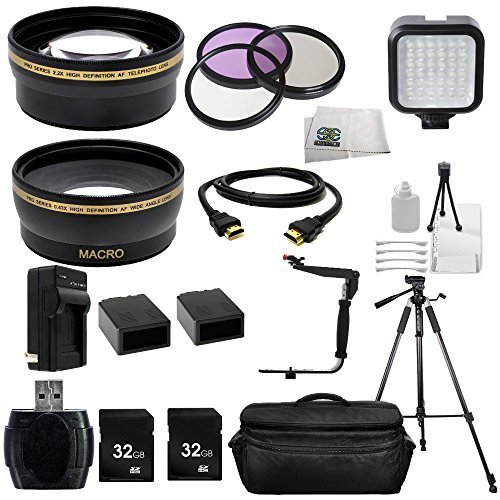 Panasonic AG-AC8 AVCHD CAMCORDER Ultimate Professional Accessory Kit Includes Wide Angle & Telephoto Lenses, 3 Piece Filter Kit, 2X 32GB SD Cards, 2 Extended Life Replacement Batteries, Tripod + MORE by SSE
