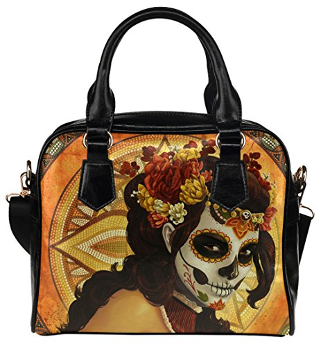 [Fashion Female Shell Shoulder Handbag Crossbody Bags with Day of the Dead Mask Print] (Day Of The Dead Female Mask)