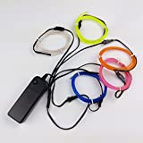 Amicc 5*1 Metre Neon Light El Wire Battery Pack for Parties, Halloween Decoration(Blue,Green,Red,White,Pink)