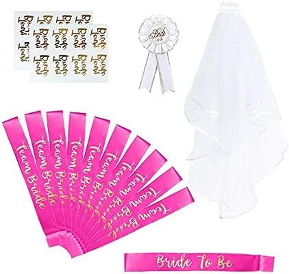 Naler 15pcs Velo de Novia Bride To Be Fiestas de Despedida de Soltera Bufanda Disfraz Despedida de Soltera Accesorios de Fiesta de Noche Boda