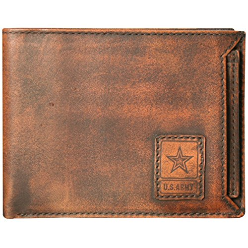 - US Armed Forces RFID Men's Genuine Leather Wallets - Gift Boxed Bi-Fold and Tri-Fold Leather Wallets ARMY NAVY MARINES AIRFORCE (US Army Bi-Fold, Washed Leather Brown)