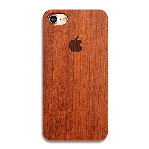 iPhone 7 Case, Nurbo Creative Unique Design Natural Carved Wood Wooden Hard Case for iPhone 7 Regular 4.7 Inch (C)