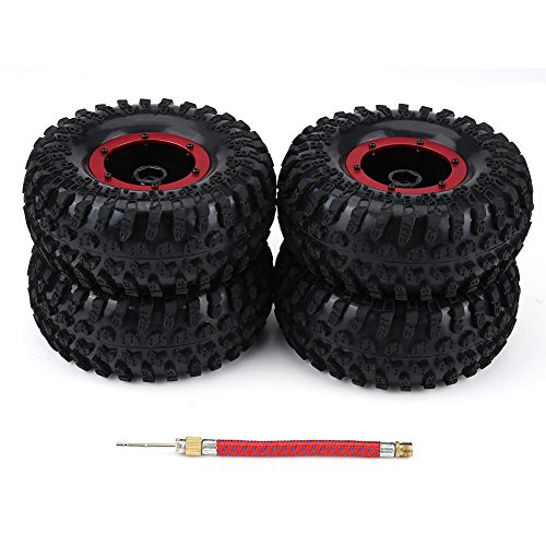 Dilwe 4Pcs Rubber Tires Tyres, Plastic Wheel Rim Hubs For 1:10 RC Crawlers Cars(Black Red)