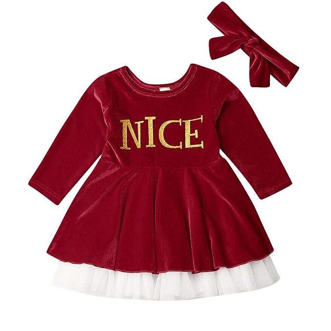Amazon.com: Bebé Niña Navidad Vestido Manga Larga Lunares ...