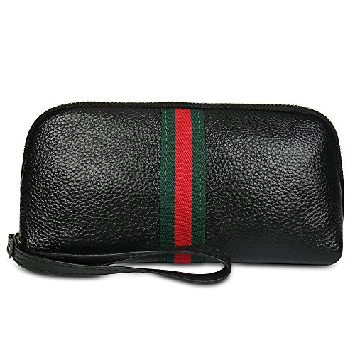 Soft Leather Wristlet Purses for Women Designer Wristlet Wallet with Strap (black) from Beatfull