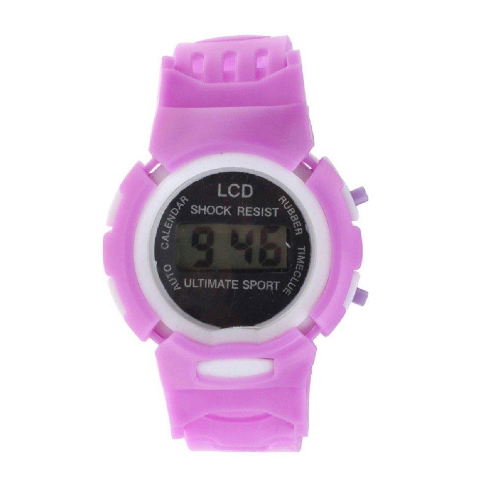 SMTSMT Students' Time Clock Digital LCD Wrist Sport Watch-Purple