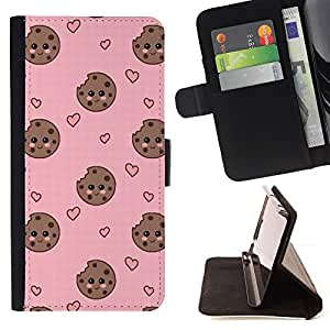 - cookie heart face smiley sweet pink - - Prima caja de la PU billetera de cuero con ranuras para tarjetas, efectivo desmontable correa para l Funny HouseFOR LG OPTIMUS L90