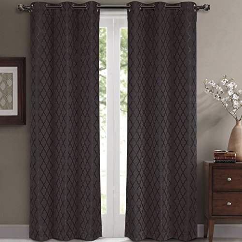 Willow Jacquard Charcoal Grommet Blackout Window Curtain Panels, Pair / Set of 2 Panels, 42x108 inches Each, by Royal Hotel