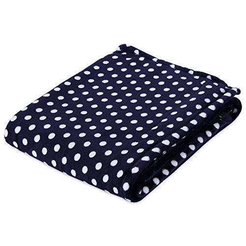 (Berkshire Blanket Velvety Polka Dot Blanket Plush Throw, Navy )