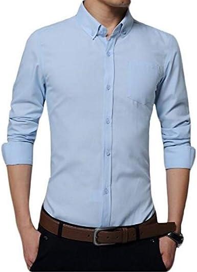 YOUTHUP - Camisa multicolor de manga larga para hombre, estilo casual, Slim Fit – Cuello clásico – Planchado fácil algodón azul claro XL: Amazon.es: Ropa y accesorios