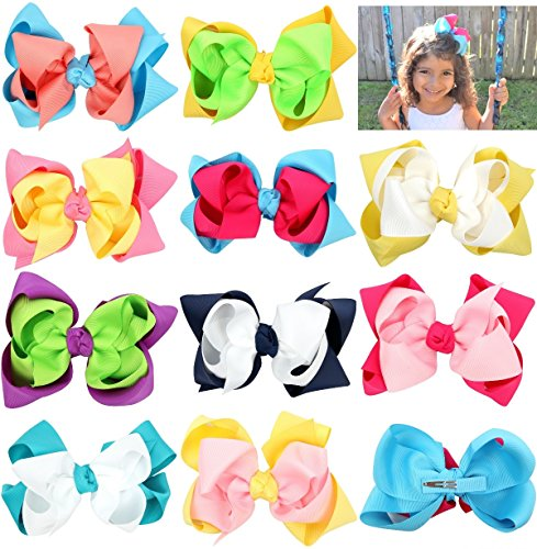 CrepeMyrtle Hair Bows for Girls, Children, Kids Ponytails, Hair Bows Clips For Teen, 4.5 inch, Set of 10, in Gift Box - Pigtail Springs