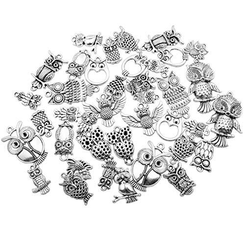 Youdiyla 46pcs Owl Charms Collection, Antique Silver Tone, Mix Owl Bird Eagle Metal Pendant (HM37)