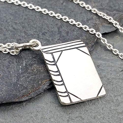 Tiny Book Charm Necklace - 925 Sterling Silver, 18