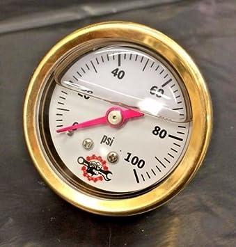 DIY Cycle Parts BRASS HARLEY LIQUID FILLED OIL PRESSURE GAUGE 100PSI (black)