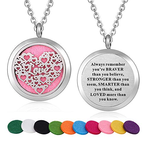 (WPFdesign Stainless Steel Love Heart Aroma Therapy Aromatherapy Essential Oil Diffuser Necklace Locket Pendant)