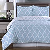 Duvet Cover Set and Pillowcase Twin/XL Twin Size 100 Egyptian Cotton Modern Reversible Print Design Luxury Soft Pattern Bedding Light Blue with 4 Corner Ties