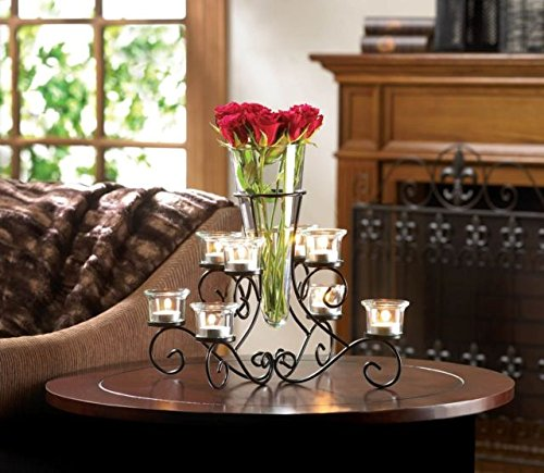 Metal Candle Lighting Chandelier Stand Centerpiece Glass ...
