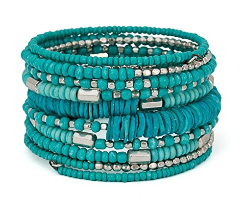 SPUNKYsoul Handmade Bohemian Coil in Aqua Teal and Silver Bracelet for Women -