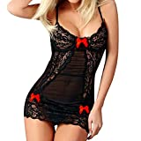 Mlide Nightgown Womens Sleeveless Sleepwear V Neck Racerback Sleep Dress Sexy Bow Lace Spice Suit Temptation Underwear,Red Free