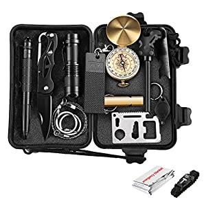 Emergency Survival Kits, OUTAD 13 IN 1 Outdoor Survival Gear Kit with Survival Bracelet, Folding Knife, Emergency Blanket, Wire Saw for Hiking/Camping/Wilderness Adventures/Disaster Preparedness