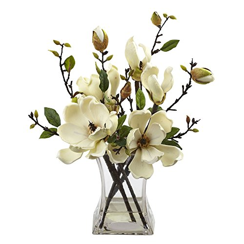 (Nearly Natural Magnolia Arrangement with Vase)