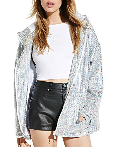 ASMAX HaoDuoYi Women Shiny Sequin Long Sleeve Cropped Blazer Front Zip Jacket/T Shirt Silver ()
