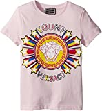 Versace Kids Baby Girl's Short Sleeve Tee With Logo Graphic (Toddler/Little Kids) Pink 6