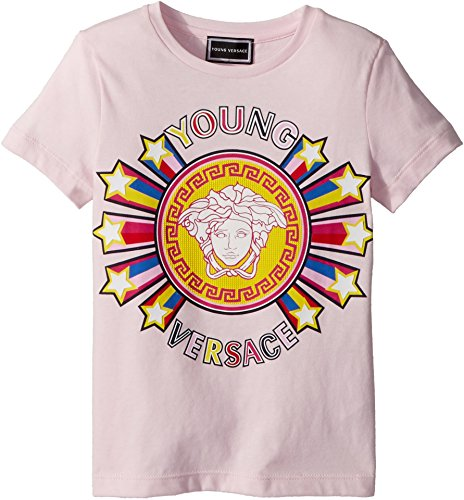 Versace Kids Baby Girl's Short Sleeve Tee With Logo Graphic (Toddler/Little Kids) Pink 6 by Versace
