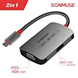 USB- C to HDMI VGA Adapter,SONMUSE 2 in 1 USB 3.1 Type C to VGA HDMI 4K UHD Converter Adaptor Dual Screen Display with Aluminium Case for 2017/2016 MacBook/ChromeBook Pixel¡­