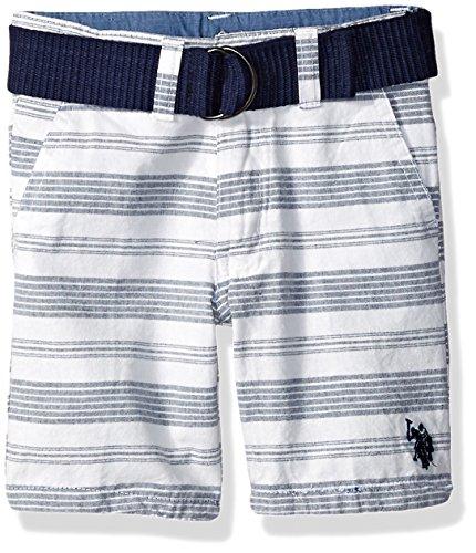 U.S. Polo Assn. Boys' Little Short, Striped Belt Classic Navy, 6