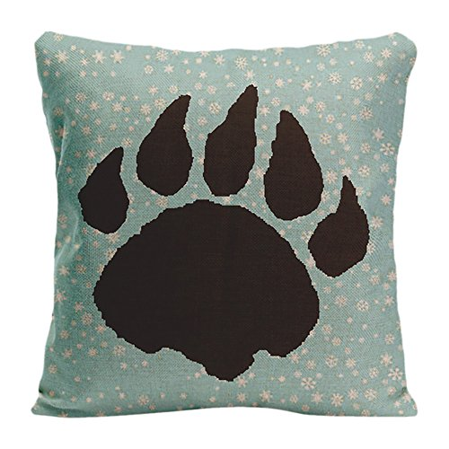 LDJ Cotton Polyester Sofa Chair Seat Square Throw Pillow Case Decorative Cushion Cover Pillowcase Design With Bear Paw Print And Snowflakes Custom Pillow Cover Print Double Sides Sized 20x20 Inches - Snowflake Embroidered Sheet Sets