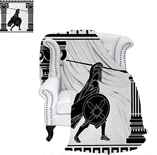 Lightweight Blanket Black Warrior Silhouette Ready to Attack Between Ancient Ionic Palace Columns Custom Design Cozy Flannel Blanket 70