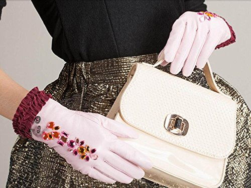 HOMEE Women'S Leather Gloves Sleeves Fleece Lined Short Inlaid Artificial Diamonds Black Blue Pink,Pink,Small by HOMEE (Image #4)
