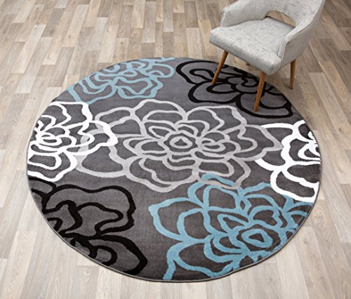 (Rugshop Contemporary Modern Floral Flowers Round Area Rug, 6' 6