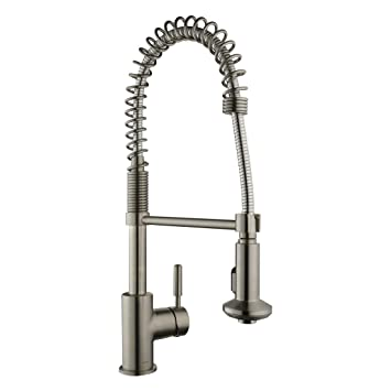 Keewi Brass Kitchen Faucet Brushed Nickel Commercial Kitchen Faucet