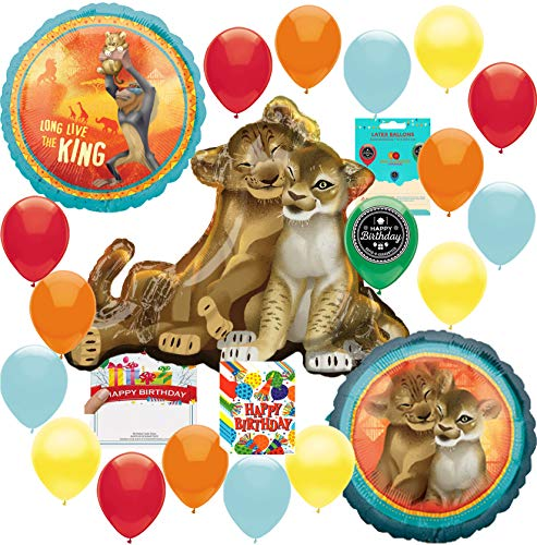 The Lion King Party Supplies Birthday Balloon Decoration Supply Bundle with Happy Birthday Card and 8 Treat Bags]()