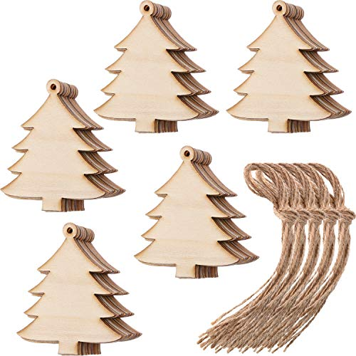Tatuo 50 Pieces Wooden Christmas Tree Cutouts Embellishments Hanging Ornaments with Ropes for Christmas Decoration, Festival, Wedding, Craft (Large Christmas Wooden Tree)