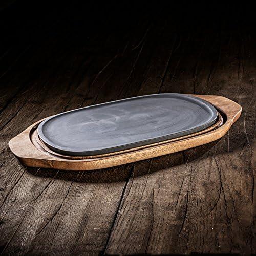 Villeroy & Boch BBQ Passion Kühl- und Wärmeplatte / Funktionale Platte aus Porzellan und Akazienholz / 31,5x21x2cm
