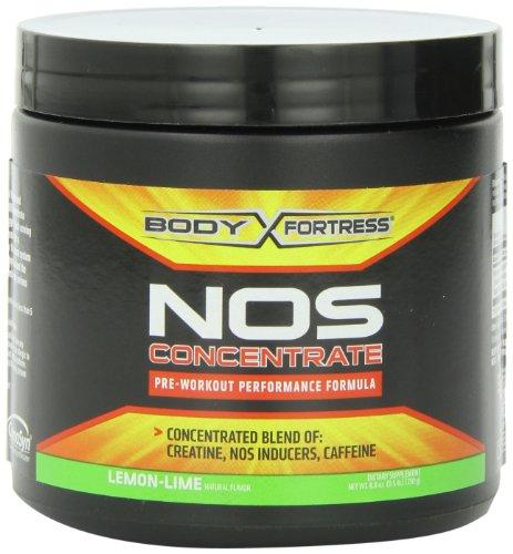 Cuerpo fortaleza NOS concentrado rendimiento pre-entrenamiento fórmula, sabor a Lima Limón, 250 gramos