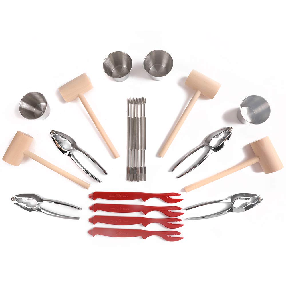Artcome 22 Piece Seafood Tools Set for 4 People including 4 Lobster Crab Crackers 4 Lobster Shellers 6 Seafood Forks 4 Sauce Cups and 4 Lobster Crab Mallets by Artcome (Image #7)