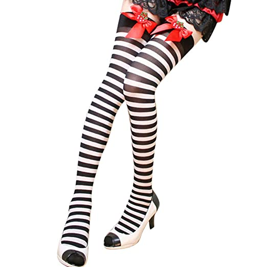 a0d583c25 Cywulin Women s Opaque Sexy Nylon Silky Tights Thigh-High Stockings Socks  Extra Long Over The