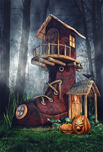 OFILA Halloween Backdrop 5x7ft Kids Halloween Photography Background Scary Enchanted Forests Wizard Shoe House Halloween Eve Party Photos Trick or Treat Events Shoots Props Hallowmas Video (Enchanted Wizard)