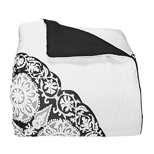 OCM Black and White Mandala Twin XL Comforter for College Dorm Residence Hall Extra Large Twin Bed