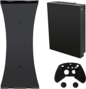 Pandaren Wall Mount Compatible for Xbox One X Mount (4K Model) Stand with 1pc Silicone Controller Cover and 2pcs Thumb grips