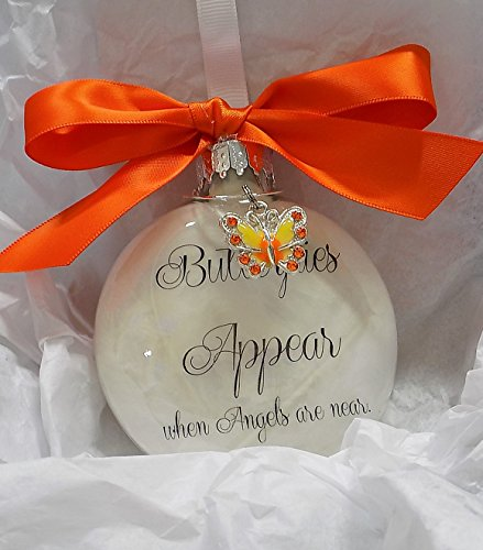 Sympathy Gift Butterflies Appear when Angels are Near Memorial Ornament Orange Butterfly Charm ()