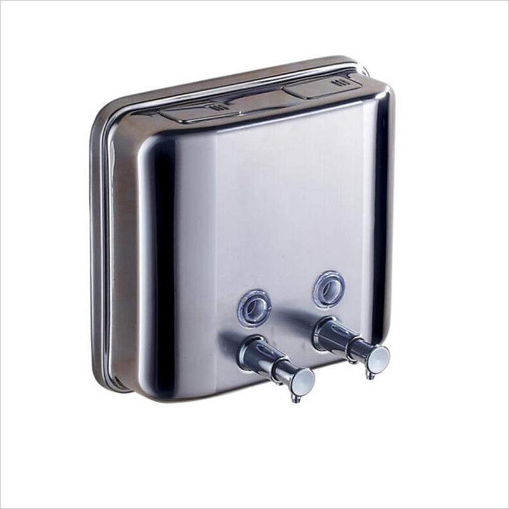 Kitchen Sink Accessories Soap Dispenser Stainless Steel Wall Mounted Manual Dual Liquid Clear Shampoo, Conditioner, Shower Gel Box