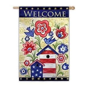 patrióticas Birdhouse jardín bandera (tamaño)